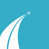 The concept of traveling by plane. Flying plane from the clouds against the blue sky. Flat design, vector illustration.