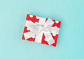 Gift box decoration red white blue background