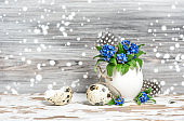 Easter decoration Forget me not flowers in egg shell