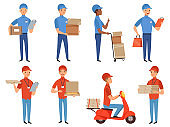 Pizza courier characters. Fast food deliver working in various action poses vector mascot design in cartoon style
