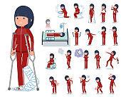 flat type school girl red jersey_sickness