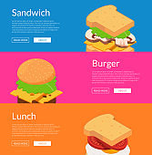 Vector isometric burger with ingredients banner illustration