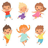 Jumping children. Cute surprised playing crazy happy kids male and female boys and girls vector cartoon characters