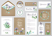 Floral invitation cards. Beautiful wedding love greeting beauty invited vector backgrounds