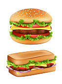 Hamburger and sandwich. Fast food realistic bread with ingredients salad tomato meal potato vector picture isolated