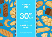 Vector cartoon bakery elements sale poster background with ribbons and shadows with place for text illustration