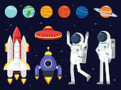 Set of planets, space shuttles and astronauts in flat style