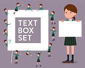 flat type school girl Green Blazer_text box
