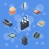 Vector cinematograph isometric elements infographic concept illustration