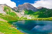 Lake. Mountain summer. Sunny day. Green grass