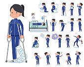 flat type school girl Blue jersey_sickness