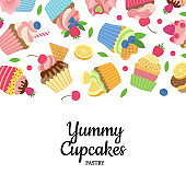 Vector cute cartoon muffins or cupcakes background