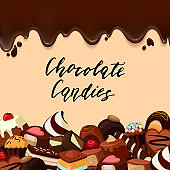 Vector background with place for text, cartoon candies and chocolate streaks