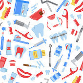 Vector flat style teeth hygiene pattern