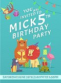 Birthday card invitation. Greeting baby invite placard with colored pictures of wild animals with gifts vector design template