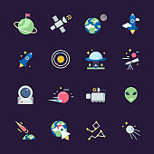 Space flat icons. Telescope satellite spaceship earth sun and planets views from observatory vector illustrations