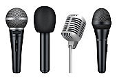 Microphones 3d. Music studio misc mic equipment vector realistic pictures of vintage style microphones isolated