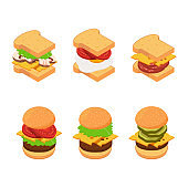 Vector isometric burger and sandwich types set illustration
