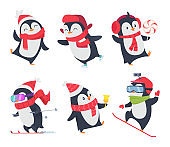 Cute penguins. Cartoon characters baby sweet wild winter snow animals pose vector isolated