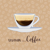 Vector coffee cup on coffee beans background illustration