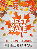Autumn poster of sales. Orange and yellow leaves falls pictures of nature autumn discount vector banner