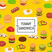 Isometric burger ingredients background and colored pattern
