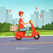 Delivery pizza background. Fresh food fast delivery man red motorcycle perfect business service urban landscape. Vector picture