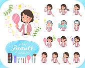 flat type Pink jacket Middle women_beauty