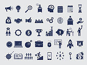 Business symbols collection. Diagram money managers at work bag handshake team arrows pc laptop vector icons isolated