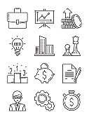 Business line icons. Money finance starting startup strategy team vector symbols isolated