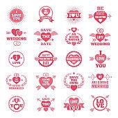 Love symbols for wedding day. Monochrome badges