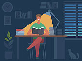 Reading book hobbies. Man sitting at table and reading magazine in dark room interior vector flat character illustration