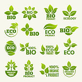 Organic eco logos and labels with illustrations of leaves