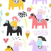 Childish Seamless Pattern with Cute Girls and Pony. Creative Kids Background for Fabric, Textile, Wallpaper, Wrapping Paper. Vector illustration