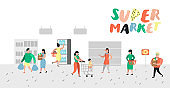People Characters Shopping in Supermarket with Bags and Carts Poster. Flat Cartoon Customer Buying Products, Cashier, Seller, Buyer. Vector illustration