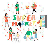 People Characters Shopping in Supermarket with Bags and Carts. Flat Cartoon Customer Buying Products, Cashier, Seller, Buyer. Vector illustration