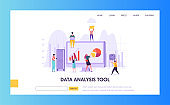 Digital Marketing Analysis Research Landing Page. Seo Strategy Analyzing for Business Growth by Creative Character. Internet Market Analyst Concept for Website or Web Page. Flat Vector Illustration