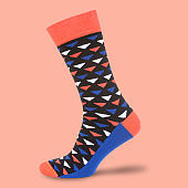 Multi-color socks on pantone punchy background, concept, isolate