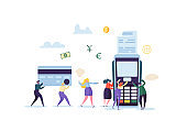 Credit Card Payment by Terminal Concept with Flat People. Financial Transaction with Characters and Money. Vector illustration