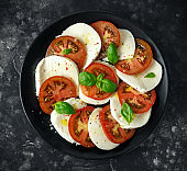 Caprese salad with tomatoes, mozzarella cheese and fresh basil leaves in a black plate. Italian food.