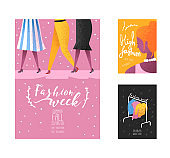 Fashion Week Poster, Banner Template, Placard, Brochure. Fashionable Models, New Clothes Collection, Online Shopping. Vector illustration