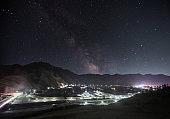 Labrang Monastery Under Milky Way in Night sky  in Tibet