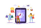 Online Shopping Concept with Characters. Mobile E-commerce Store with Flat People Buying Products with Smartphone and Tablet. Consumerism Business. Vector illustration