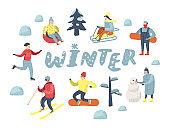 Flat People Characters on Happy Vacation. Winter Sports Sledding, Snowboard, Ski. Vector illustration