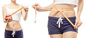Young woman weight loss weight loss with a centimeter and apple set