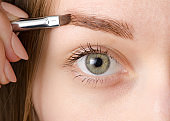 Female eye natural brush for painting eyebrow