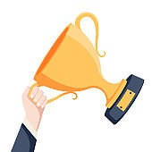 Gold cup in hands. Hand holding winner's trophy award. Business goal achievement concept. Vector flat illustration