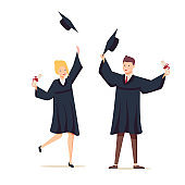 Couple of graduates with diplomas. The guy and the girl graduated from university. Vector illustration in cartoon style.