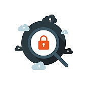 Data protection and internet security. Cloud, Secure, Web, Online, Magnifying glass.