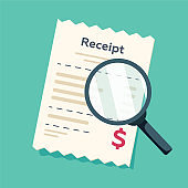 Receipt icon with magnifying glass. Studying paying bill. Payment of goods,service, utility, bank, restaurant. Invoice check